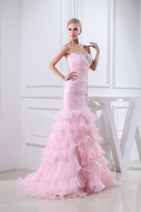 Baby Pink Sweetheart Brush Train Ruched Pageant Dress with Ruffles and Applique