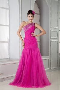 New Hot Pink Mermaid One Shoulder Brush Train Tulle Pageant Dress with Beading