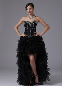 Black High-low Beaded and Ruffled Sweetheart Pageant Dresses for Miss America