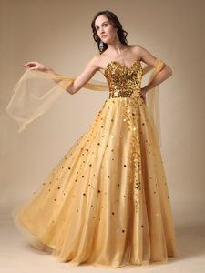Luxurious Gold A-line Sweetheart Tulle Pageant Dress with Sequins on Promotion