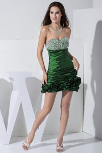 Green Pageant Dresses for Miss USA with Beading and Hand Made Flowers