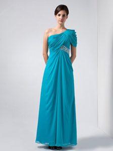 Beautiful Turquoise One Shoulder Chiffon Beaded Pageant Dresses for Girls