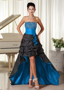 Pretty Colorful Beaded High-low Pageant Dress with Ruche in Special Fabric