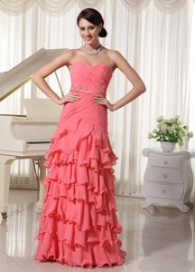Sassy Watermelon Red Layered Miss Universe Pageant Dresses in Chiffon