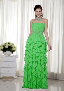Simple Empire Strapless Beading Natural Beauty Pageants Dress in Green