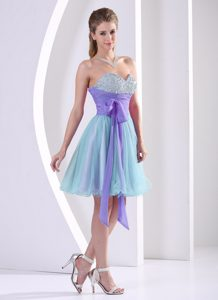 Impressive Beaded Sweetheart Multi-color Pageant Girl Dresses with Bow