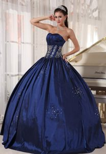 Modern Navy Blue Pageant Dress for Miss USA in Taffeta with Embroidery
