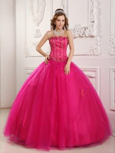 Exquisite Strapless Tulle Beading Hot Pink Pageant Dresses to Floor-length