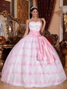 Gorgeous Light Pink Pageant Dress with Spaghetti Straps with Embroidery