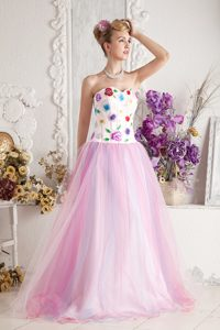 Stylish Baby Pink A-line Sweetheart Pageant Dress with Colorful Appliques