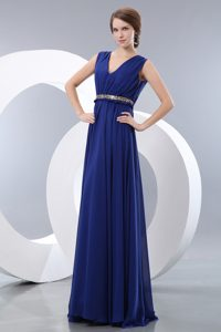 Necessary Royal Blue V-neck Brush Train Chiffon Youth Pageant Dresses