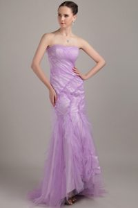 Most Recent Mermaid Strapless Tulle Interview Pageant Suits in Lavender