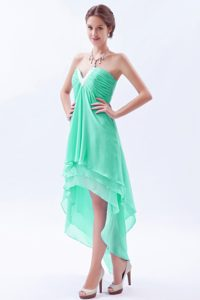 Hot Apple Green A-line V-neck Miss Universe Pageant Dresses in Chiffon
