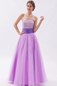 Popular Lavender A-line Beading Pageant Dress for Miss America in Tulle