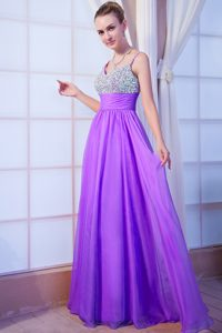 Svelte Purple Empire Straps Brush Train Beauty Pageant Dresses in Chiffon