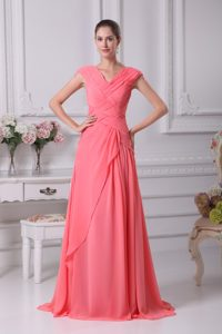 High Quality Watermelon Red Ruching V-neck Cap Sleeves Pageant Dress