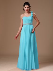 Aqua Blue One Shoulder Floor-length Ruched Beaded Pageant Dress with Flowers
