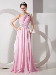 New Baby Pink One Shoulder Floor-length Ruched Beaded Chiffon Pageant Dress