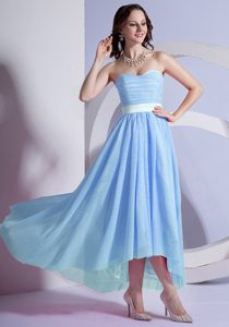 Sweetheart High-low Baby Blue Ruched Chiffon Pageant Dresses with White Belt