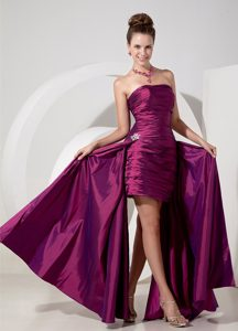 Eggplant Purple Strapless High-low Ruched Taffeta Pageant Dress with Appliques