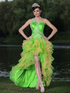 High-low Multicolor One Shoulder Beaded Pageant Dress with Ruffled Layers