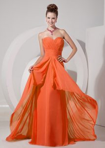 Cheap Orange Red Empire Sweetheart Pageant Dress with Brush Train on Sale
