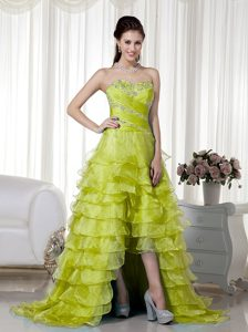 Yellow Green Sweetheart Organza Beaded Pageant Dresses with Brush Train