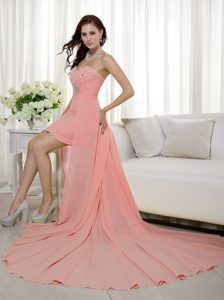 Beautiful Sweetheart High-low Pageant Dresses with Beading and Ruching