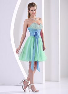 Popular Beaded Sweetheart Multicolor Knee-length Pageant Dress with Sash