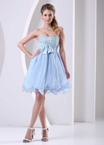Light Blue Sweetheart Beaded Chiffon Short Pageant Dress with Sash on Sale