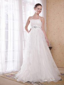White A-Line Halter Top Taffeta and Organza Pageant Dress with Brush Train