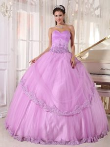 Lavender Sweetheart Taffeta and Tulle Pageant Dress with Appliques for Cheap
