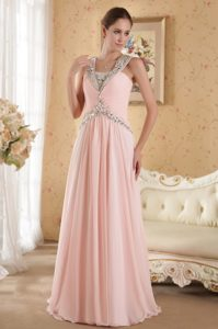 Pink Column Straps Court Train Chiffon Beaded and Ruched Pageant Dresses