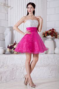 A-line Sweetheart Short Organza Beaded Mini-length Pageant Dress for Cheap
