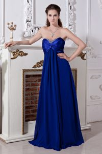 Royal Blue Beaded Empire Sweetheart Chiffon Pageant Dresses on Promotion