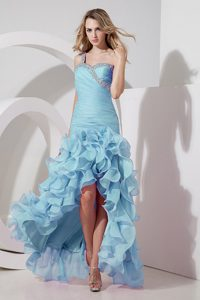 Blue One Shoulder High-low Beaded Pageant Dress with Ruffled Layers on Sale