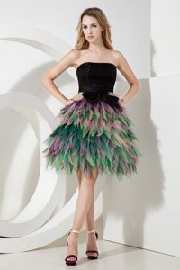 Multicolor A-line Strapless Mini-length Organza Pageant Dress with Bow on Sale