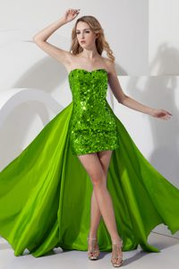 Ready to Wear Green High Low Pageant Dresses with Sequin for Miss America