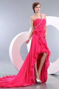 Empire High-low One Shoulder Chiffon Beaded Pageant Dresses on Promotion