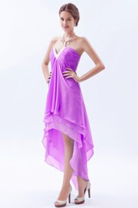 Lavender A-line V-neck High-low Chiffon Beaded Pageant Dress for Miss World