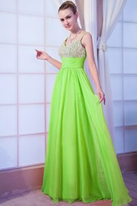 Bright Green Empire Straps Chiffon Beaded Pageant Dresses with Brush Train