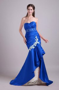 Royal Blue Mermaid Sweetheart Lace Appliqued and Beaded Pageant Dresses