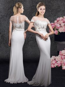 Scoop White Short Sleeves Brush Train Appliques and Sequins With Train Winning Pageant Gowns