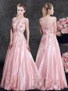 Beautiful Baby Pink Scoop Neckline Appliques Pageant Dress Wholesale Cap Sleeves Zipper