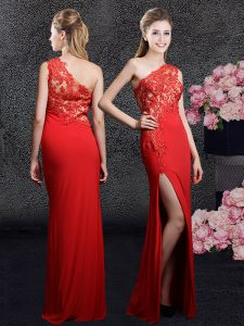 One Shoulder Floor Length Side Zipper Pageant Dress for Teens Red for Prom and Party and Military Ball and Wedding Party with Lace and Appliques