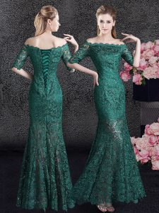 Mermaid Scalloped Dark Green Half Sleeves Lace Lace Up Pageant Dress for Teens for Prom and Party and Military Ball and Wedding Party
