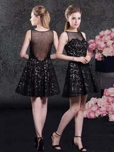 Clearance Lace Pageant Dress for Womens Black Side Zipper Sleeveless Mini Length