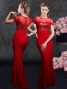 Noble Sequins With Train Red Winning Pageant Gowns Scoop Short Sleeves Brush Train Zipper