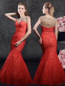 Exquisite Red Mermaid Lace Bateau Cap Sleeves Beading and Lace Floor Length Zipper Pageant Dress for Womens