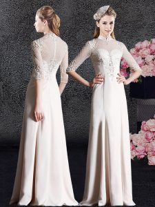 Noble Satin High-neck Half Sleeves Zipper Lace Pageant Dress Womens in Champagne
